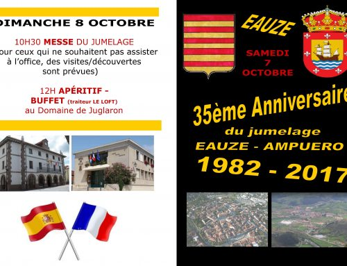 Invitación a desplazamiento a Eauze los días 7 y 8 de octubre para celebrar el hermanamiento con Ampuero