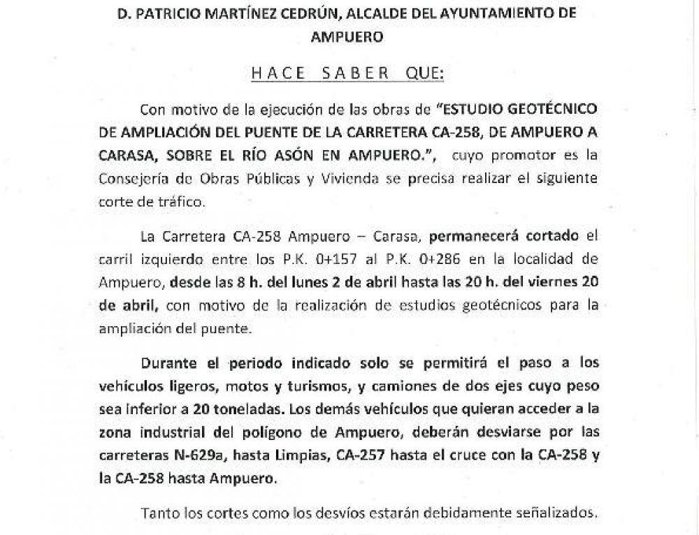BANDO MUNICIPAL CORTE PUENTE DE AMPUERO
