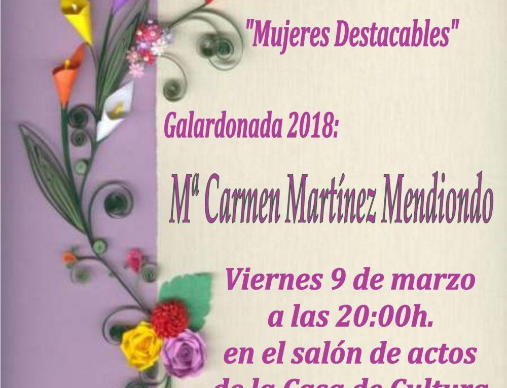 """MARIA DEL CARMEN MARTÍNEZ MENDIONDO """"MUJER DESTACABLE DE AMPUERO 2018""""."""
