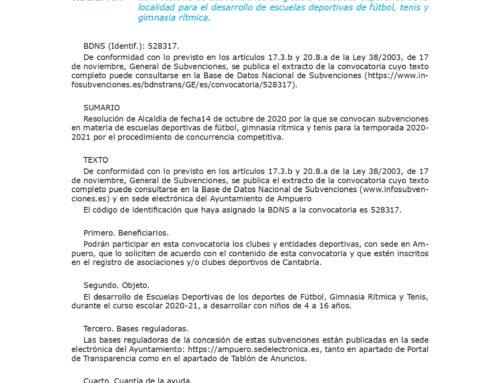 Convocatoria de subvenciones dirigidas a entidades deportivas de la localidad para el desarrollo de escuelas deportivas de fútbol, tenis y gimnasia rítmica