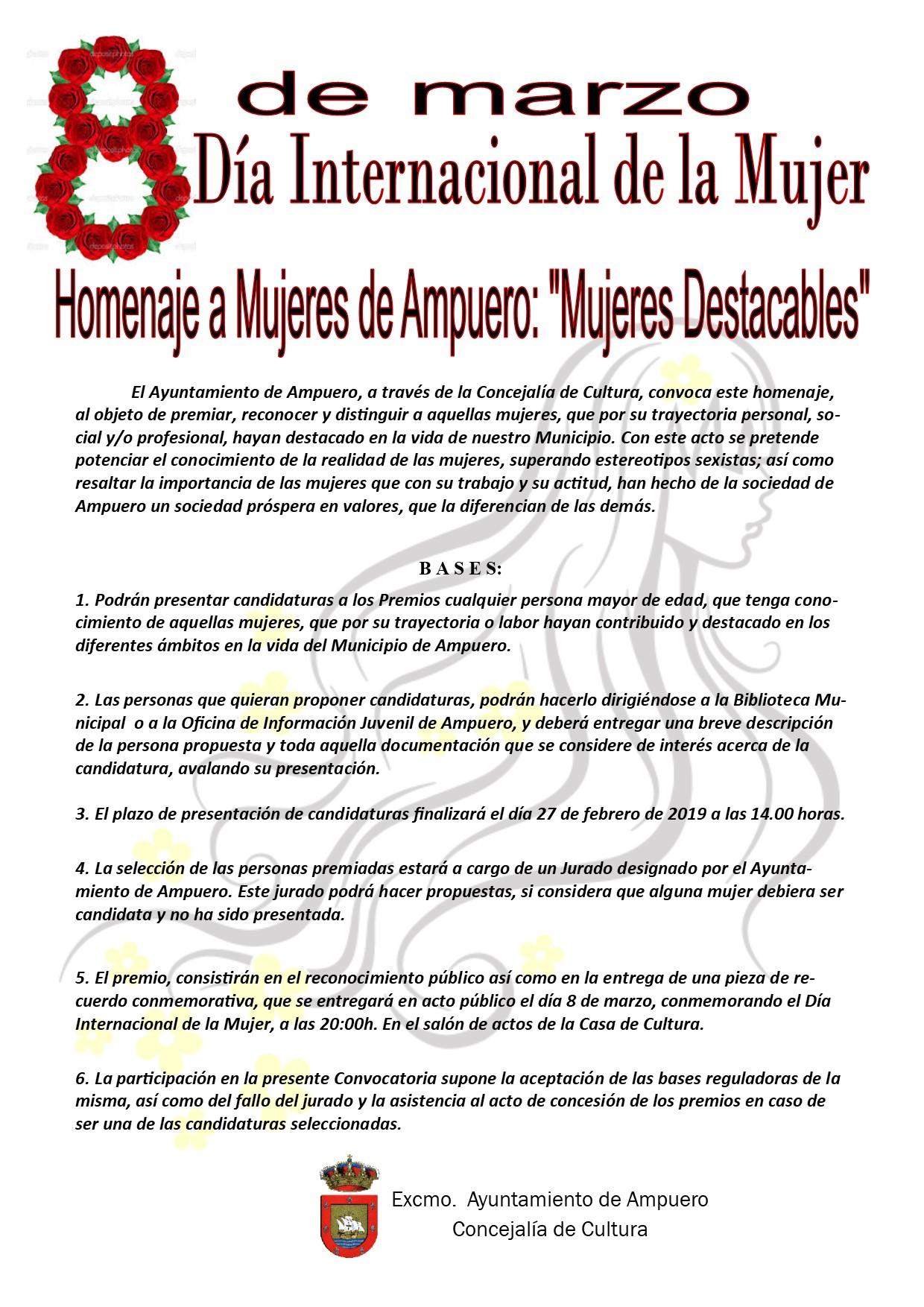 """HOMENAJE A MUJERES DE AMPUERO """"MUJERES DESTACABLES 2019""""."""