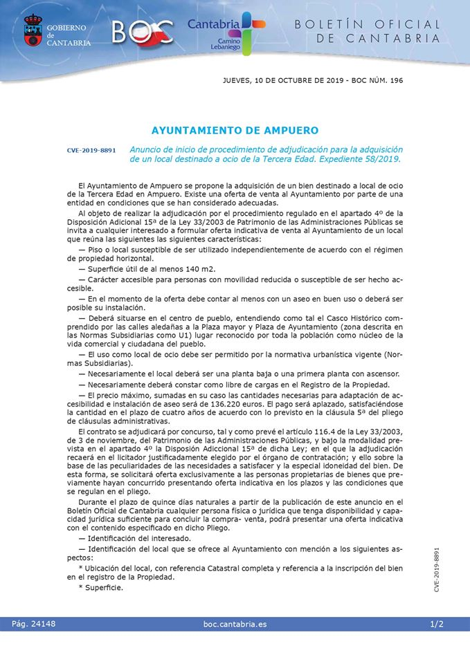 PUBLICACIÓN EN EL BOC SOBRE PROCEDIEMIENTO DE ADJUDICACIÓN DE LOCAL DESTINADO A OCIO DE LA TERCERA EDAD
